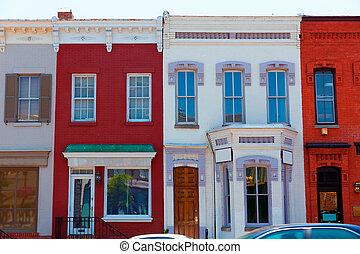 georgetown, district historique, façades, washington
