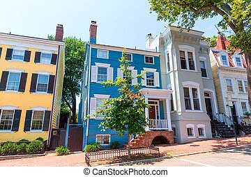 georgetown, histórico, washington, distrito, fachadas