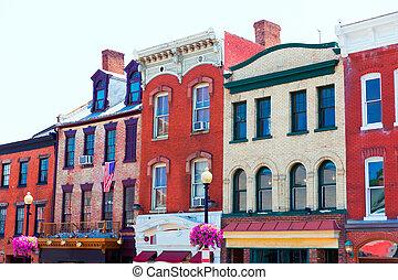 Georgetown historical district facades Washington - ...