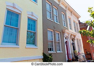 georgetown, historique, washington, district, façades