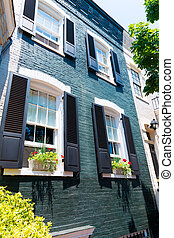 georgetown, historische , washington, bezirk, fassaden