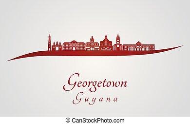 Georgetown skyline in red