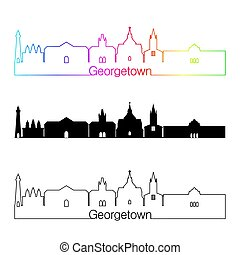 Georgetown skyline linear style with rainbow