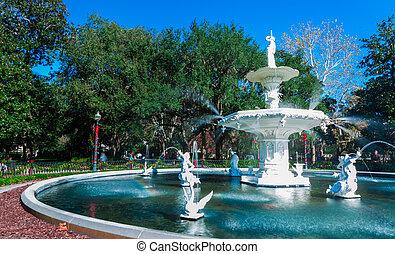 georgië, savanne, park, bewateer fontein, forsyth