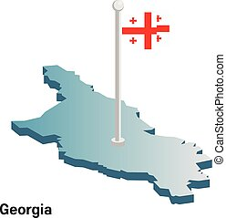 Georgia 3d vector map with national flag