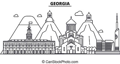 Georgia architecture line skyline illustration. Linear vector cityscape with famous landmarks, city sights, design icons. Editable strokes