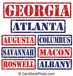 Set of Georgia cities stamps on white background, vector illustration