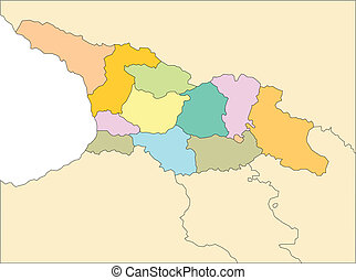 Country of Georgia, editable vector map broken down by administrative districts includes surrounding countries, in color, all objects editable. Great for building sales and marketing territory maps, illustrations, web graphics and graphic design. Includes sections of surrounding countries, Russia, ...