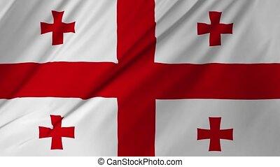 Georgia Country flag animation waving 2 in 1 - Georgia...