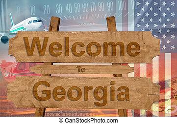 georgia, estados unidos de américa, bienvenida, madera, ...