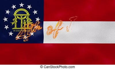 Georgia flag background for 4th of july sparkling fire lettering, loop