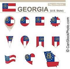 Georgia Flag Collection, USA State, 12 versions