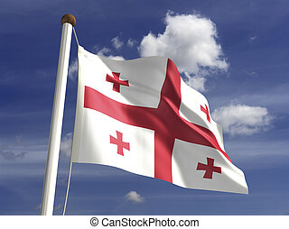 Georgia Flag - Georgia flag (with clipping path)