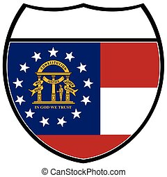 Georgia Flag In An Interstate Sign