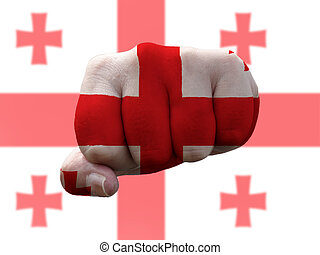 Georgia Flag painted on human fist representing power