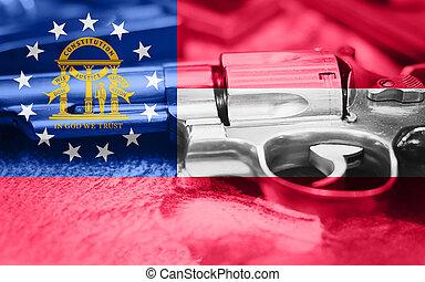 Georgia flag (U.S. state) Gun Control USA. United States Gun Laws.