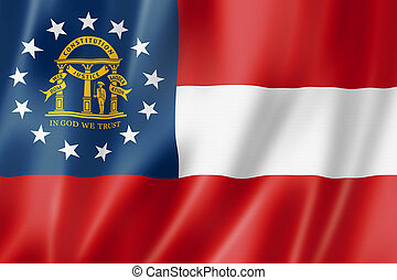 Georgia flag, united states waving banner collection. 3D illustration
