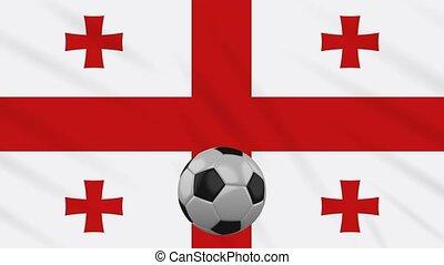Georgia flag waving and football rotates, loop - Georgia...