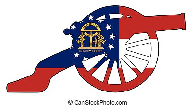 Georgia Flag With Civil War Cannon Silhouette - Typical ...