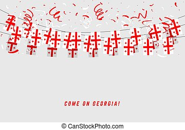 Georgia flag with confetti on white background, Hang bunting for Georgia celebration template banner.