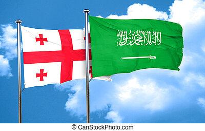 Georgia flag with Saudi Arabia flag, 3D rendering