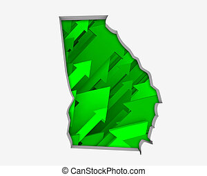 Georgia GA Arrows Map Growth Increase On Rise 3d Illustration