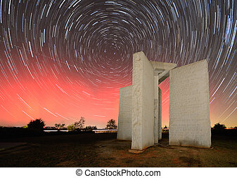 Georgia Guidestones - Aurora Borealis behind the Georgia...