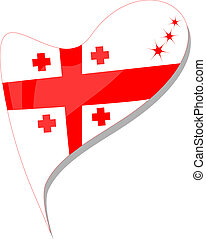 georgia in heart. Icon of georgia national flag. vector -...