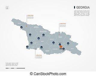 Georgia infographic map vector illustration.