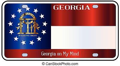 Georgia License Plate Flag - Georgia state license plate in...