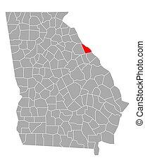 georgia, lincoln, mapa