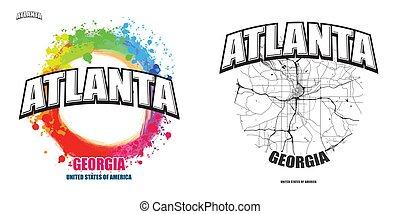 georgia, logo, atlanta, gestaltungsarbeiten, zwei