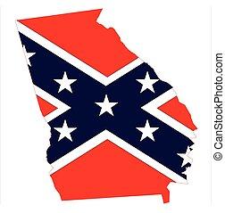 Georgia Map And Confederate Flag