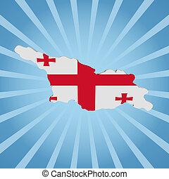 Georgia map flag on blue sunburst illustration