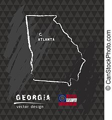 Georgia map, vector pen drawing on black background