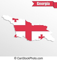 Georgia map with flag inside and ribbon