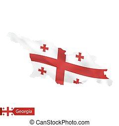 Georgia map with waving flag of Georgia.