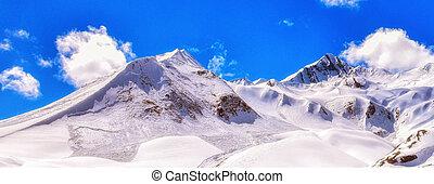Georgia, mountains view with deep blue sky, white snowy...