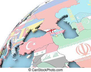 Georgia on globe with flag