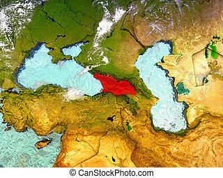 Georgia on illustrated globe
