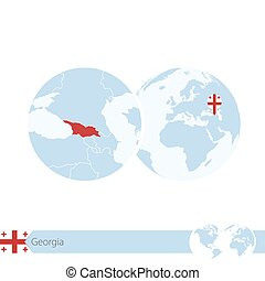 Georgia on world globe with flag and regional map of Georgia.