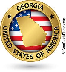 georgia, oro, mapa, etiqueta, estado, vector, ilustración