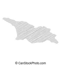 Georgia - pencil scribble sketch silhouette map of country area with dropped shadow. Simple flat vector illustration