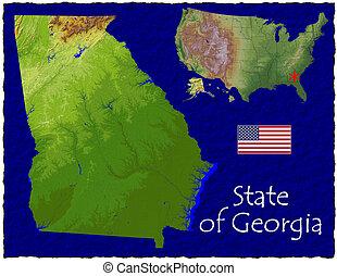 georgia, res, hola, aéreo, estados unidos de américa