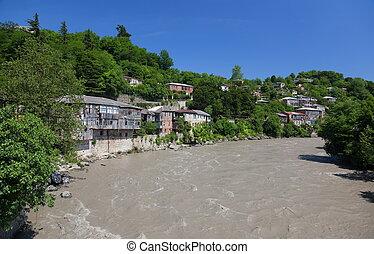 georgia., rioni., kutaisi., rivière