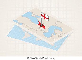 Georgia selected on map with isometric flag of Georgia.