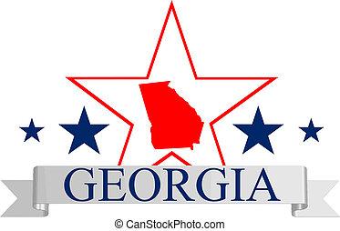 Georgia state map, star and name.