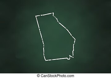 Georgia State Borderline Map Chalk Style