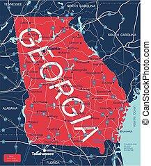 Georgia state detailed editable map