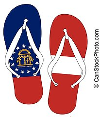 Georgia State Flag Flip Flop Shoes